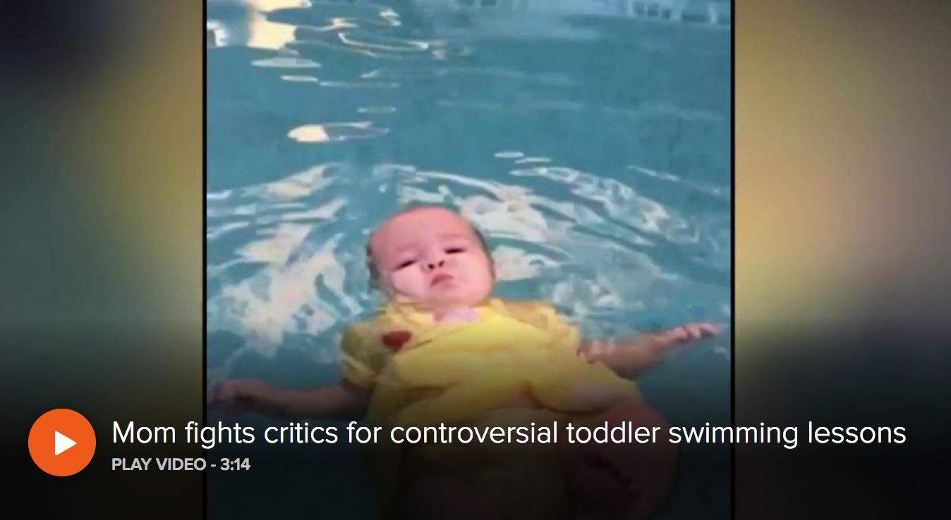 A mother is fighting back after a video of her daughter learning survival swim lessons goes viral.